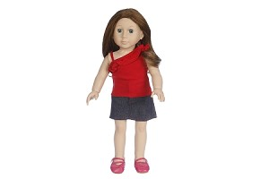 Red Top with Jean Skirt by BFF Doll Company