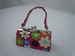 Pink Flower Power Print Purse by BFF Doll Company