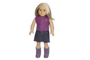 Purple Top With Jean Skirt and Boots by BFF Doll Company